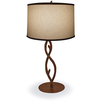 Pictured is our Rustic style wrought iron South Fork Branch Table Lamp hand-made by Mathews & Co.