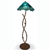 Pictured is our Rustic style wrought iron South Fork Branch Floor Lamp with Glass Shade hand-made by Mathews & Co.