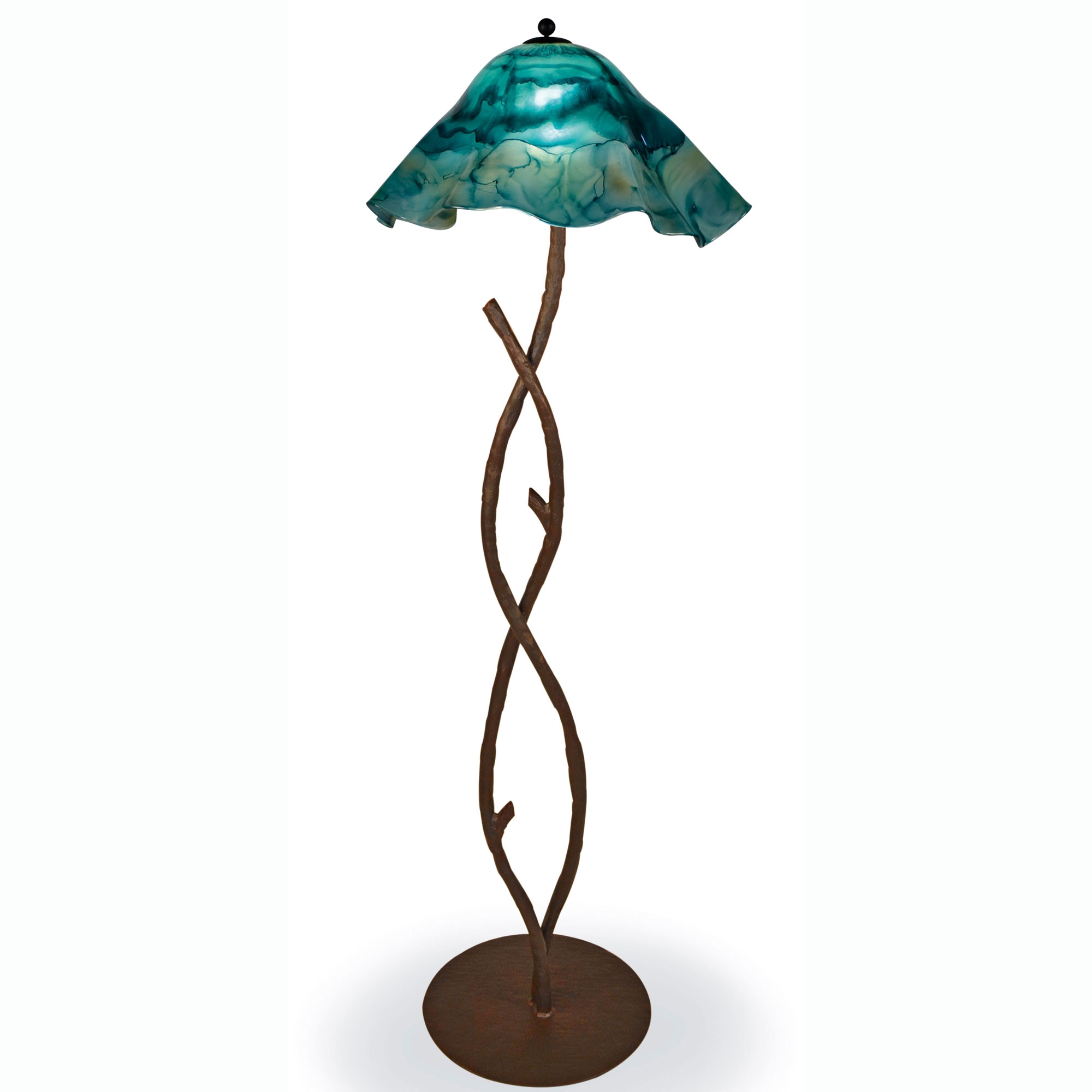 Wrought Iron South Fork Branch Floor Lamp with Glass Shade ...