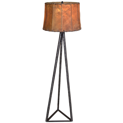 Pictured is our wrought iron Tripod Floor Lamp hand-forged by Mathews and Company.
