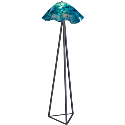 Pictured is our wrought iron Tripod Floor Lamp with Glass Shade hand-forged by Mathews and Company.