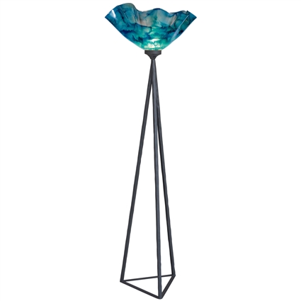 Pictured is our wrought iron Tripod Torchiere Floor Lamp hand-forged by Mathews and Company.
