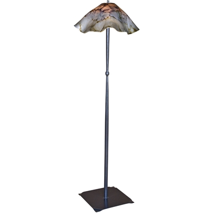Pictured is our wrought iron Cottonwood Floor Lamp with Glass Shade hand-forged by Mathews and Company.