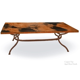 Pictured here is the Woodland Coffee Table with Top hand crafted by skilled artisan blacksmiths.