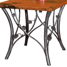 Pictured here is the Piney Woods End Table Base Only hand crafted by skilled artisan blacksmiths from Mathews and company.