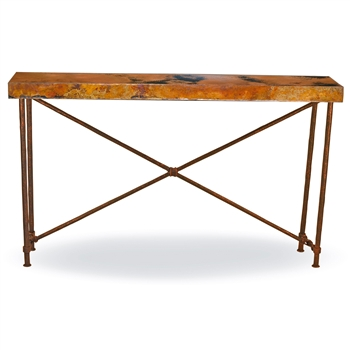 Pictured here is the Burlington Console Table Base Only hand crafted by skilled artisan blacksmiths from Mathews and company.