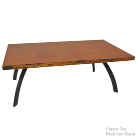 "Pictured here is the Chanal Cocktail Table with 50"" x 30"" Copper Top hand crafted by skilled artisan blacksmiths."