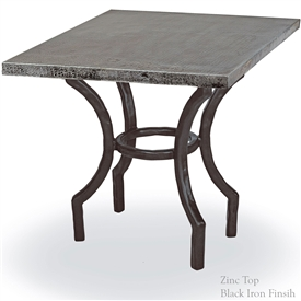 Pictured here is the Corinthian End Table with 24 x 24 inch table Top hand crafted by skilled artisan blacksmiths.