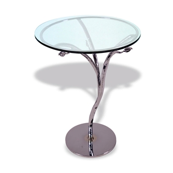 "Pictured here is the Silver Leaf Accent Table with 18"" Glass top from Mathews and Company"