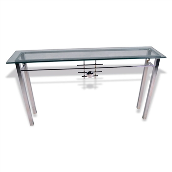 Pictured here is the Metropolis Console Table with Glass Top hand crafted by skilled artisan blacksmiths.