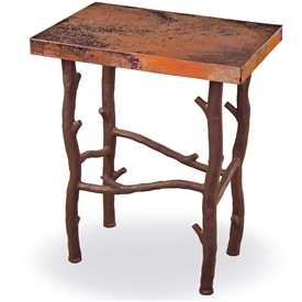 Pictured here is the South Fork Small End Table with aged rust iron finish on the base and a 20-in. x 14-in. copper top.