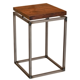 "Pictured here is the American Country Small End Table with a 1 3/4"" thick wood top. Clear finish to enhance craftsmanship."