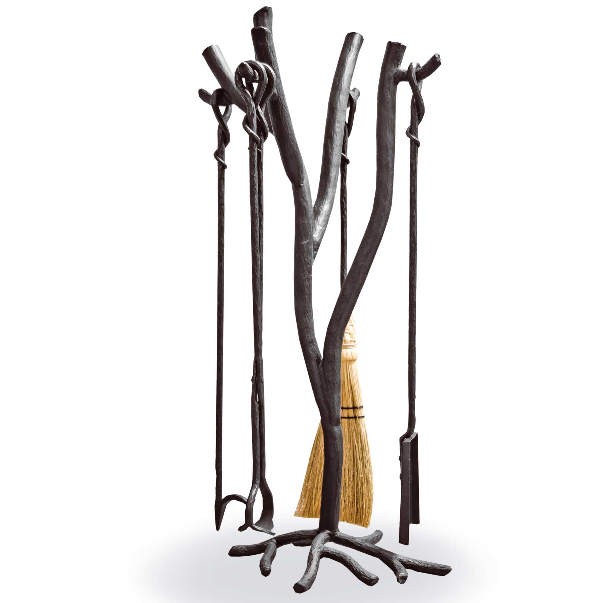 The Hand-Forged South Fork Fireplace Tool Set includes a straw broom