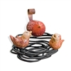 Decorative Iron Bird nest with 3 Ceramic Birds made by Mathews and Company, Sold at Timeless Wrought Iron