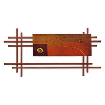 Pictured here is the Metro Wall Decor with one hand painted orange metal Panel from Mathews and Company