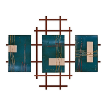 Pictured here is the 3 Panel Metro Burnt Orange Wall Art from Mathews and Company