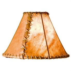 "Pictured is our Rustic style Rawhide 14"" Table Lamp Shade hand-made by Mathews & Co."