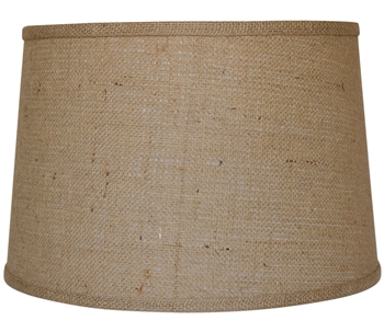 "Pictured is our Rustic style Burlap 13"" Drum Table Lamp Shade hand-made by Mathews & Co."
