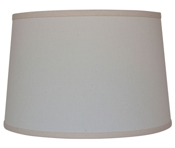 "Pictured is our Contemporary style Natural Linen 13"" Drum Table Lamp Shade hand-made by Mathews & Co."