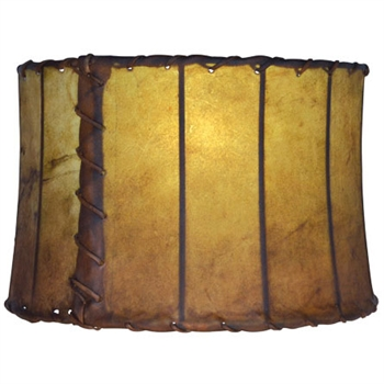 "Pictured is our Rustic style Leather 16"" Drum Floor Lamp Shade hand-made by Mathews & Co."