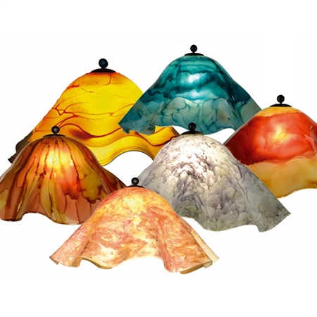 Pictured is our Traditional style Small Glass Lamp Shade hand-made by Mathews & Co.