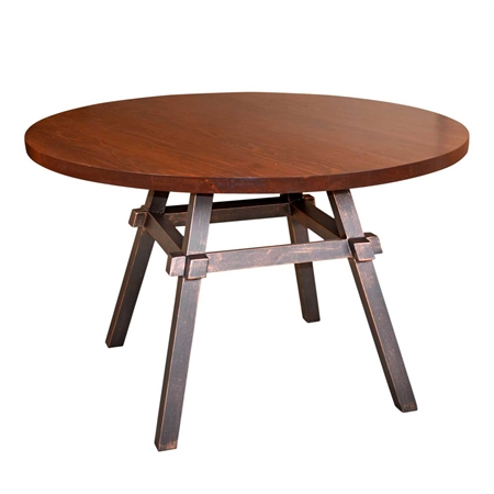 Pictured here is the Tower Dining Table with Aged Bronze Finish by Mathews & Co.