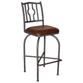 Pictured is the Corinthian Bar Stool with leather upholstered seat, natural black iron finish and rustic wrought iron frame.