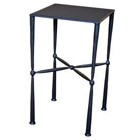 Pictured here is the Cottonwood Square Side Table with Metal Top by Mathews & Co.