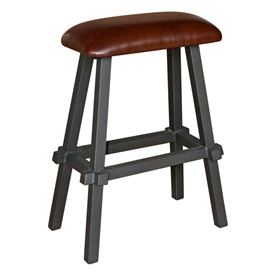 "Pictured here is the 25"" Tower Counter Stool with Brown Leather Seat by Mathews & Co."
