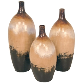 Pictured here are the Melon Ceramic Vases Set of 3 in our sykes finish.