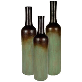 Pictured here is the Extra Large Stoneware Bottles Set of 3 from Mathews and Company in our Eden finish.