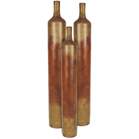 Pictured here are the handcrafted Tall Ceramic Floor Vases in our aged orange, sold as a set of 3 - small, medium and large.