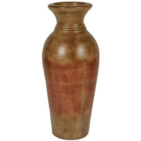Pictured here is the handcrafted Bellagio Medium Ceramic Vase in our Antique Orange finish which measures 14 inches in diameter by 38 inches high.