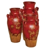 Pictured here are the Fair Haven Ceramic Vases in our aged red finish, sold as a set of 3 - small, medium and large.