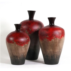 Pictured here are the handcrafted Cherry Hill Ceramic Vases in our moulin rouge finish, sold as a set of 3 - small, medium and large.