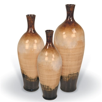 Pictured here are the handcrafted Cherry Hill Ceramic Vases in our sykes finish, sold as a set of 3 - small, medium and large.
