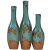 Pictured here are the handcrafted Square Base Ceramic Bottles in aged turquoise finish, sold as a set of 3 - small, medium and large.