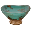 Pictured here is the handcrafted Taos Small Ceramic Bowl in our Aged Turquoise finish which measures 14 inches long by 14 inches wide by 14 inches high.