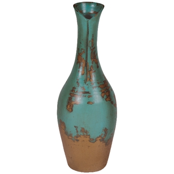 Pictured here is the hand sculpted Water Lily Ceramic Vase in our aged turquoise finish.