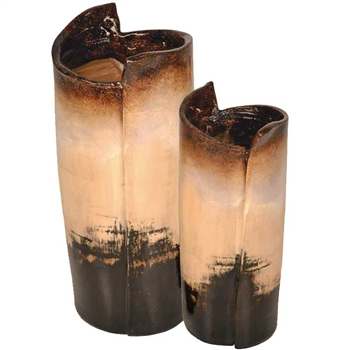 Pictured here are the handcrafted Wrapped Ceramic Vases in our sykes finish, sold as a set of 2 - small and large.
