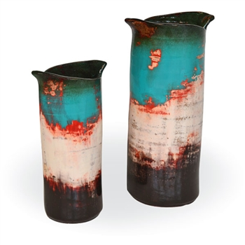 Pictured here are the handcrafted Wrapped Ceramic Vases in our teal finish, sold as a set of 2 - small and large.