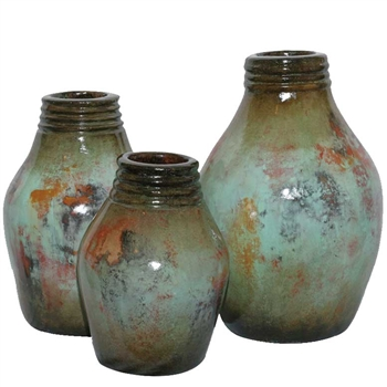 Pictured here are the handcrafted Dexter Ceramic Jars in our pacifico finish, sold as a set of 3 - small, medium and large.