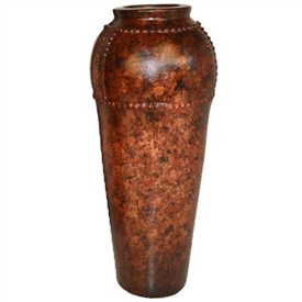 Pictured here is the handcrafted Medium Nail Head Ceramic Vase in our Chesterfield finish which measures 15 inches in diameter by 38 inches high.