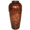 Pictured here is the handcrafted Small Nail Head Ceramic Vase in our Chesterfield finish which measures 14 inches in diameter by 31 inches high.