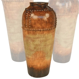 Pictured here is the handcrafted Small Nail Head Ceramic Vase in our Grand Canyon finish which measures 14 inches in diameter by 31 inches high.