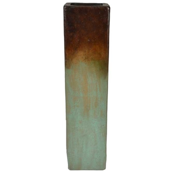 Pictured here is the handcrafted Medium Square Ceramic Floor Vase in our Eden finish which measures 9 inches long by 9 inches wide by 28 inches high.