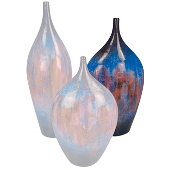 Pictured here is the handcrafted Desire Medium Ceramic Vase in our Cobalt Blue finish which measures 17 inches in diameter by 36 inches high.