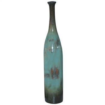 Pictured here is the handcrafted Large Ceramic Stretched Floor Bottle in our Pacifico finish which measures 10 inches in diameter by 58 inches high.