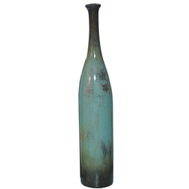 Pictured here is the handcrafted Medium Ceramic Stretched Floor Bottle in our Pacifico finish which measures 10 inches in diameter by 55 inches high.