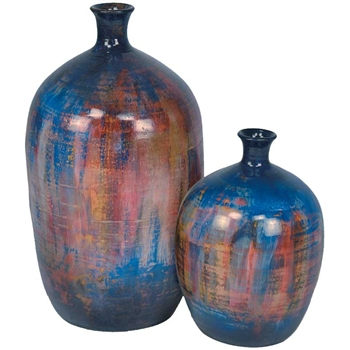 Pictured here is the Small Neck Stoneware Bottles Set of 2 from Mathews and Company